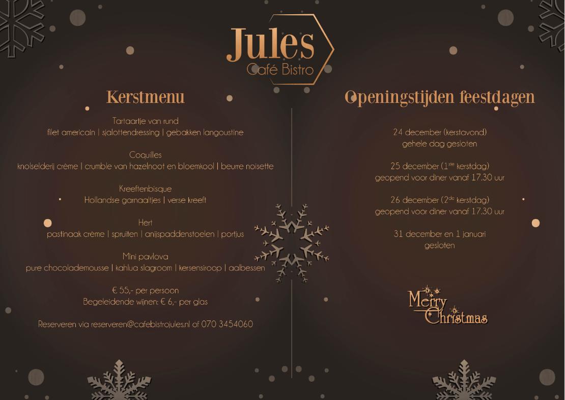 kerstmenu en openingstijden